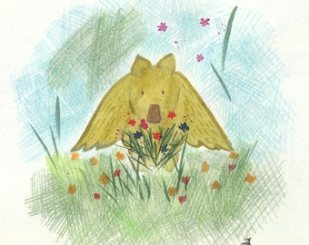 Greeting card: Kukunos with wildflowers. Hand-drawn illustration.