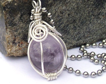 Amethyst Crystal Ball Wire Wrapped Pendant Necklace
