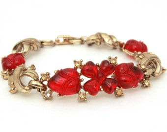 Coro Fruit Salad Bracelet, Vintage Rhinestones Red Glass Fruit Salad Gems, Flower Heart Petals, Alfred Philippe Trifari Style