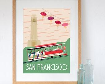 San Francisco Retro Travel Poster Style Art Print