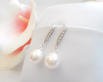 Free US Shipping Gorgeous AAA Freshwater Pearl Bridal Earrings With Cubic Zicronia Sterling Silver AAA Freshwater Pearl Bridal Earrings