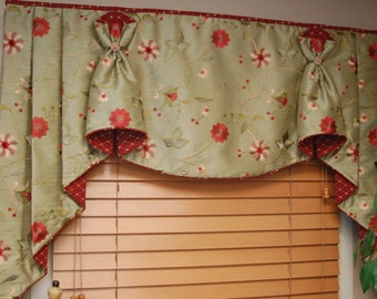 "Custom Valance Hidden Rod Pocket® with jabots BUNNY NO EARS fits 65""- 86"" window, Made to order using your fabrics, my labor and lining"