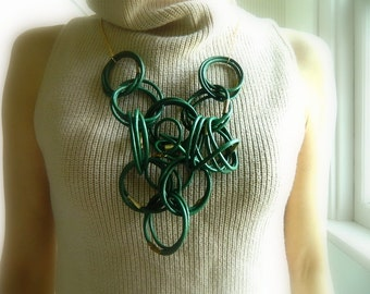Green Leather Necklace St Patricks Extra Long Statement Necklace Avant Garde geometric Necklace modern Necklace Big Necklace Bib Necklace