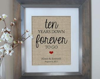 Ten Years Down Burlap Print, 10 Year Anniversary Gift, Gift for Husband, Gift for Her, 10th Anniversary Gift, Wedding Anniversary, 10 Year