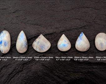 Rainbow Moonstone Cabochon Gemstone - Lot of 6 Pieces - Pair Cabochon - Cabochon Stone - Pair Moonstone - Cabochon Lot - Ring Gemstones