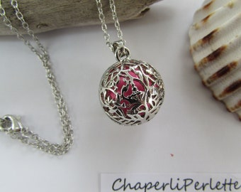 """Pink """"Bola"""" necklace silver Bola ball music"""