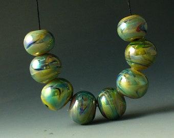Lampwork perles/SRA au chalumeau/perles/Double Helix/verre/papillon d'argent /