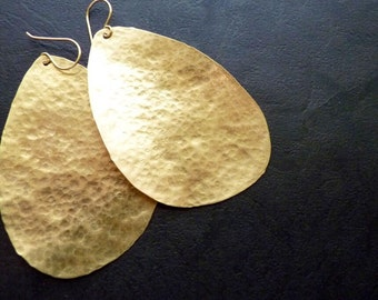 Large Hammered Gold Earrings (brass)