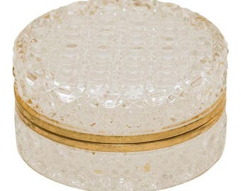 Vintage Round Cut Glass Trinket Box