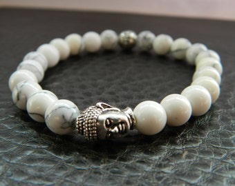 Mens Beaded Buddha Bracelet- Natural White Turqoise