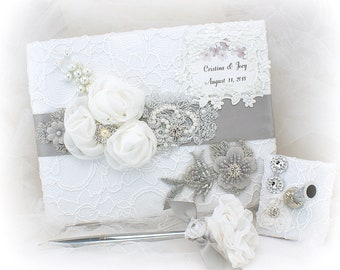 Personalized Wedding Guest Book White Silver Gray Lace Guestbook Silver Wedding Pen Signature Book Elegant Guests Sign In Book