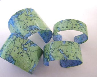 Vinalhaven Island Maine cuff bracelet - choice of one - Fox Islands - Penobscot Bay - Knox County