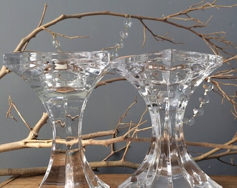 VINTAGE DECOR...set of 2 glass lead crystal candle holders ~  accents ~ Christmas holiday decor ~ wedding supplies
