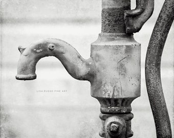 Black and White Bathroom Print or Canvas Art, Water Faucet Print, Black and White Bathroom Art, Laundry Room, Water Pump Picture, Gallery.