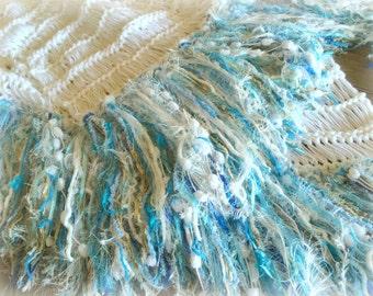 Throw Blanket in Blue Turquoise, Teal, Aqua, Mint, White Afghan Lap Blanket Knitting Housewares