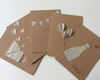 5 cards for the price of 4, book page card set with gold embossing