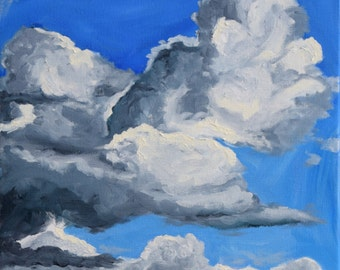 "Cloud Oil Painting, Original 11""x14"""