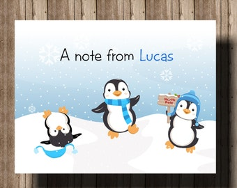 PERSONALIZED NOTECARDS Penguins on Snow/Boys Set of 10 Folded Notcards/Christmas Winter Thank You Cards/Boxed Penguin Party Thank You Cards