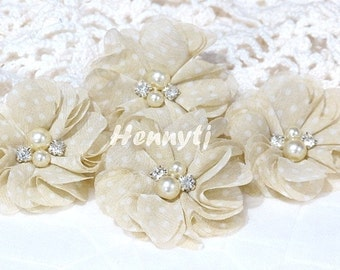 4 pcs Aubrey BEIGE w/ white polka DOTS Patterned - Soft Chiffon with pearls and rhinestones Mesh Layered Small Fabric Flowers.