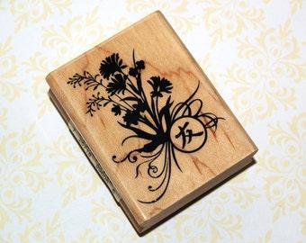 Japanese Bouquet Rubber Stamp NEW - Wood, Flowers, Japanese Symbol, Wooden Mounted, Never Used, Inkadinkadoo