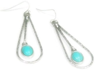 Turquoise Dangle Earrings, Teardrop Earrings with Turquoise Pendulum, Hammered Silver Dangle Earrings, Turquoise Jewelry, Boho, Southwwest