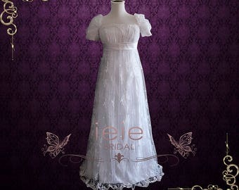 Regency Style Empire Lace Wedding Dress with Cap Sleeves | Emma