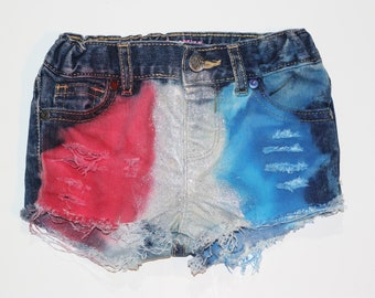 Freedom Sparkle Razzles denim shorties/red white blue distressed denim shorties, Patriotic shorts/4th of July outfit