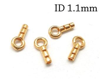 10pcs Crimp End Cap, 24K Gold Plated End Cap ID 1.1mm, JBB Findings, Gold End Caps, Gold Plated Cord Ends, End Cap with Loop ID 1.1mm,