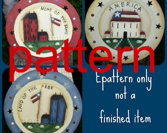 EPATTERN #0051 Land that I love plates, decorative painting pattern, tole painting patterns, folkart pattern, instant download, prim pattern