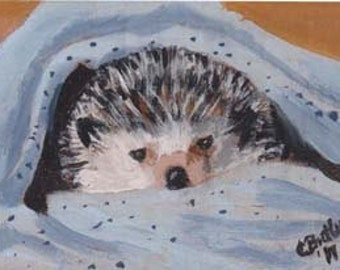 Hedgehog ACEO Magnet, 2 x 3 small portrait,  acrylic painting ,small pet portrait on easel,art trading card,collectible art,small art,