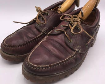Vintage Timberland Brown Leather Gore Tex Boat Deck Shoes Men's Size 10