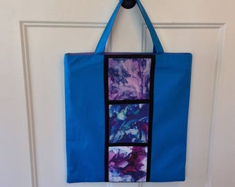 Large Shopper Tote with Digitally Printed Original Artwork Inserts, in Turquoise or Magenta