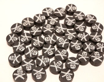20 Fimo Polymer Clay Round Flat Beads Skull Pirate Black White 10mm