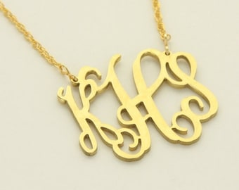 Monogrammed Cutout Necklace - Gold Tone