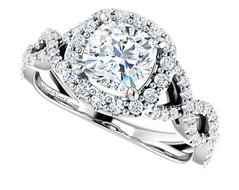1.52ctw Cushion Cut Moissanite & Diamond Halo Engagement Ring