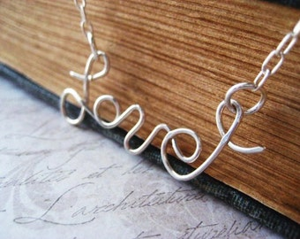 Love Necklace, Sterling SIlver, Rolo Chain, written word, hand written, Love Pendant, candies64, hand formed