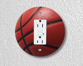 Burgundy Basketball Sport GFI Grounded Outlet Plate Cover
