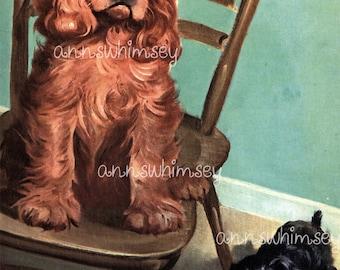 "Kitchen, Bath, Kid's Room Art, Dog Art,  ""It's So Hard Being Big Brother"", Cocker Spaniel Restoredl Art #164 FREE SHIPPING"