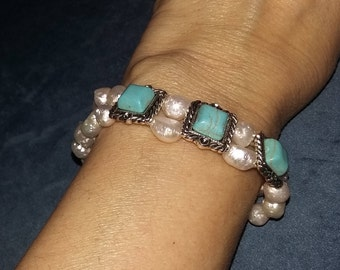 Pearl with Turquoise Bracelet