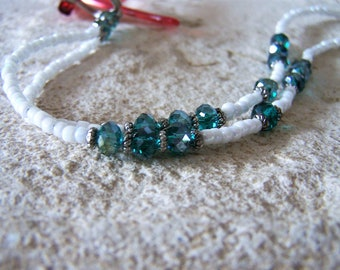 Green Crystal White Beaded Necklace Lanyard for Glasses, One Of A Kind, by Eyewearglamour