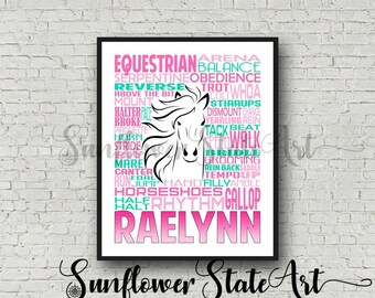 Personalized Equestrian Poster Typography, Equestrian Gift, Horseback Riding, Horseback Riders, Horse Lovers Art, Horse Print, Horse Team