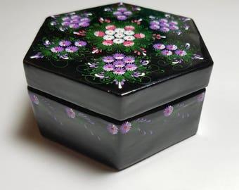 Floral Hand Painted Floral  Black Enamel Jewelry Trinket Box - Oriental Hand Painted Enamel Jewelry Box - Asian Trinket Box