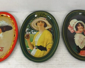 Vintage 1973 Coca Cola Painted Steel Oval Tip Trays Lot of 3