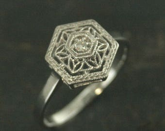 14K White Gold Filigree Ring Diamond Ring Antique Style Ring Vintage Style Ring Right Hand Ring Snowflake Ring Winter Ring Gift for Her