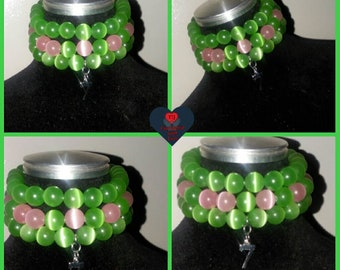 Pink and Green Stacked Bracelet