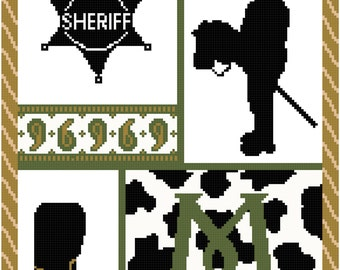 Cowboy Initial Wall Art in Tan and Olive Cross Stitch Pattern with Initial