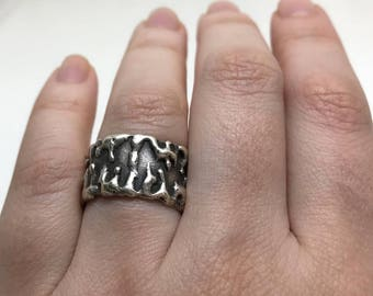 Vintage Sterling Silver Modernist Dripping Ring