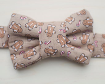 Holiday Bow Tie for Cats- Gingerbread Men Print