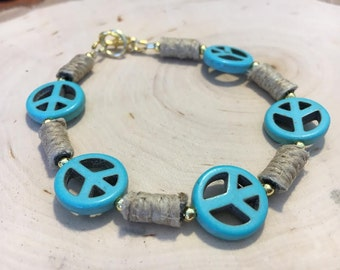Turquoise Howlite Peace Sign Bracelet w/ Hemp Accent Beads
