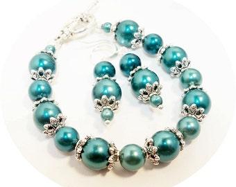 Teal Jewelry, Bracelet and Earrings, Bridesmaid Gift, Bridal Accessories, Aqua Jewelry, Bridesmaid Jewelry, Wedding, Ocean Blue Jewelry
